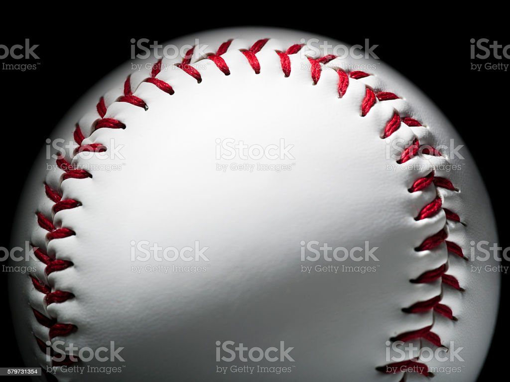 Red stitches of a baseball softball