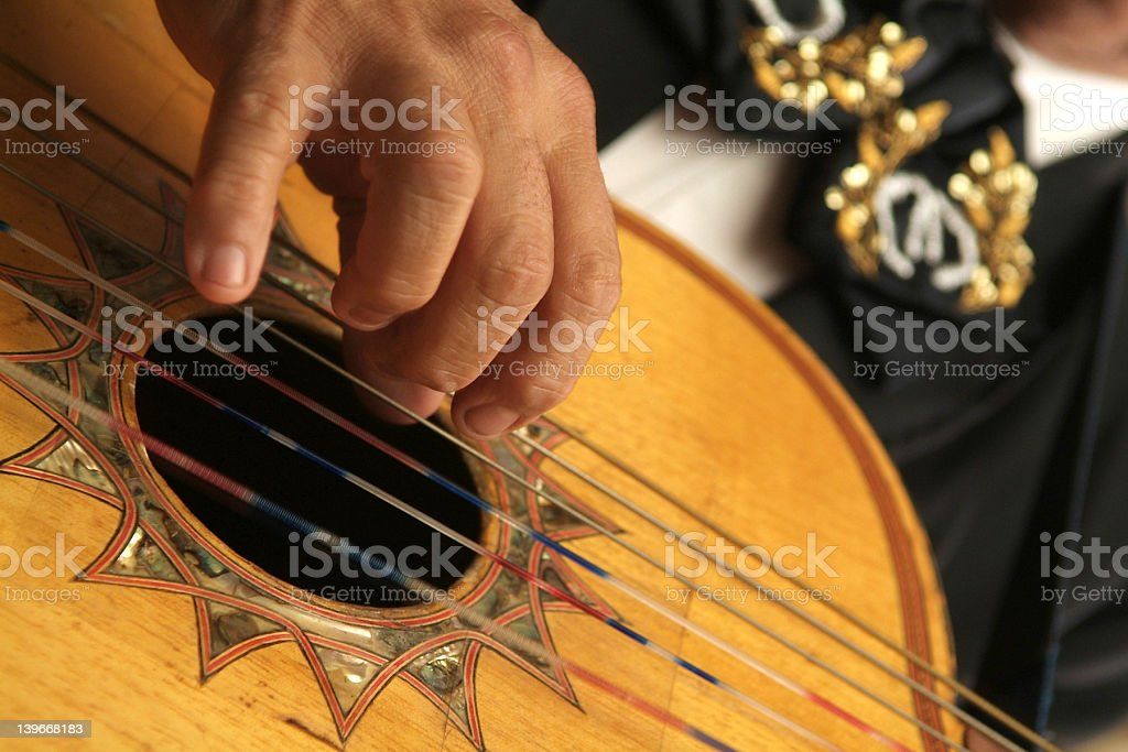 Close up of a Spanish guitar being played by a hand stock photo