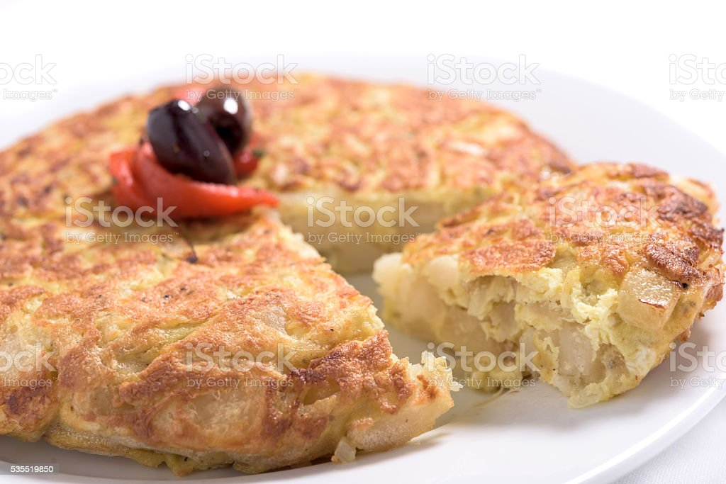 Close up of a Spanish omelet. stock photo