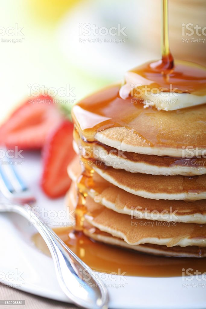 Close up of a stack of pancakes stock photo