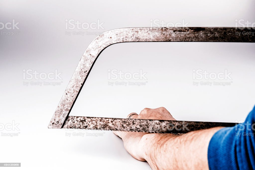 Close up of a suicidal man hand on isolated white stock photo