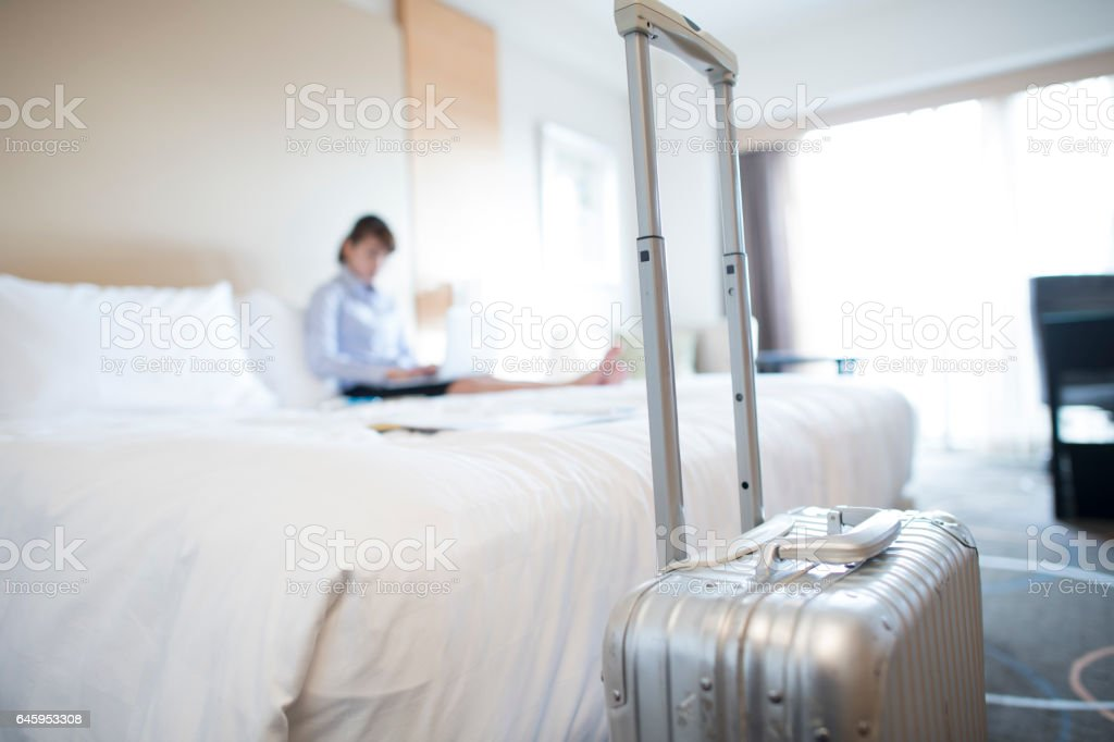 Close up of a suitcase. stock photo