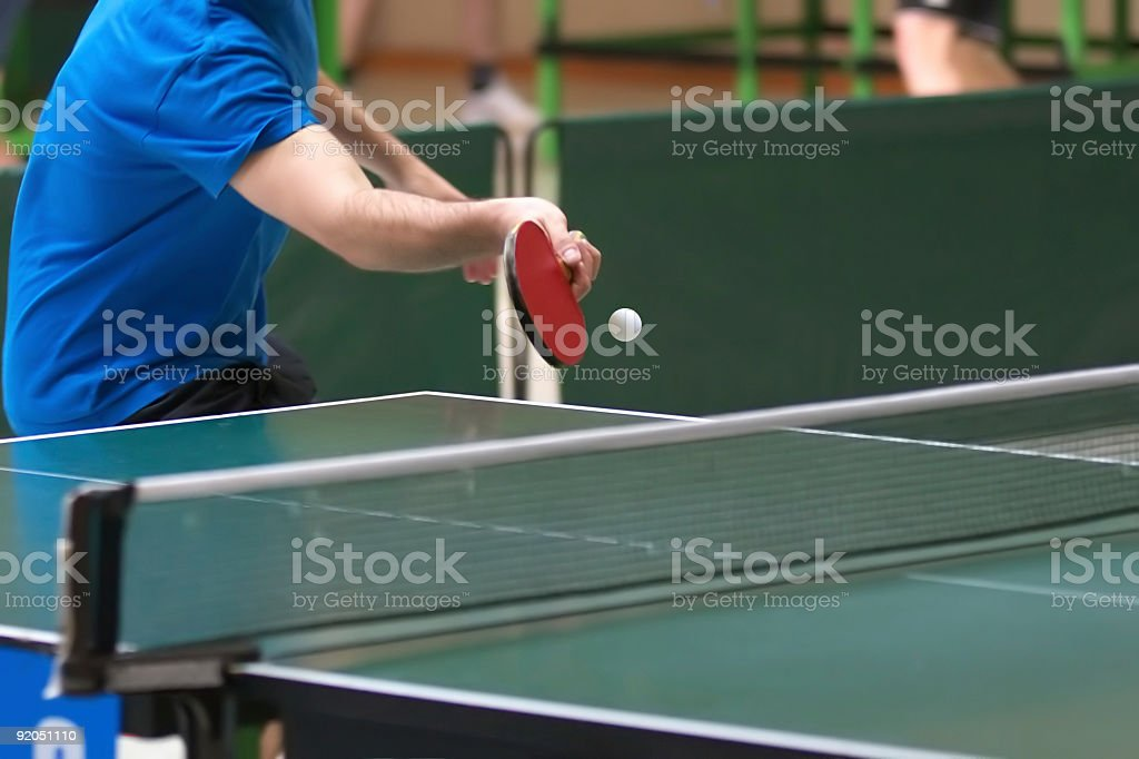close up of a table tennis player stock photo
