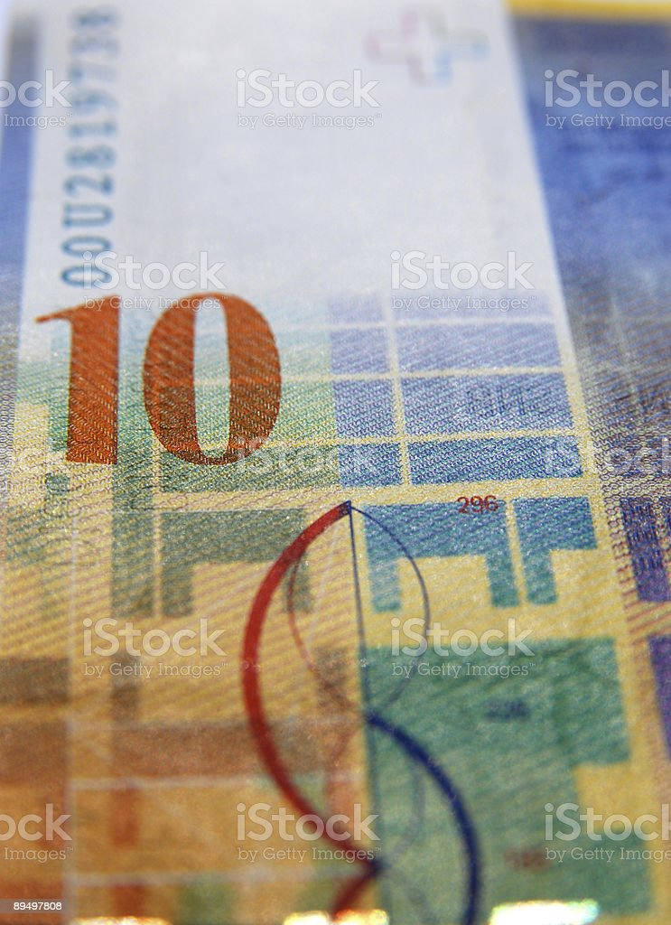 close up of a ten swiss currency note royalty-free stock photo