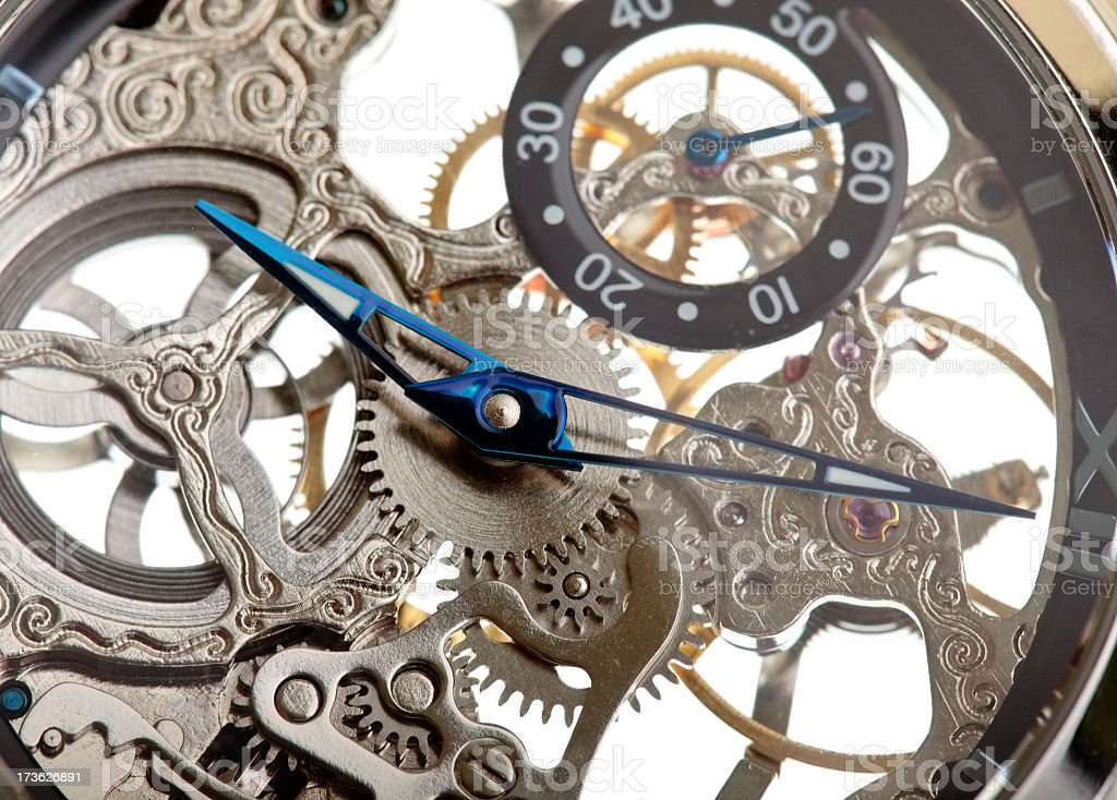 Close up of a the inside of a clock showing the mechanism royalty-free stock photo