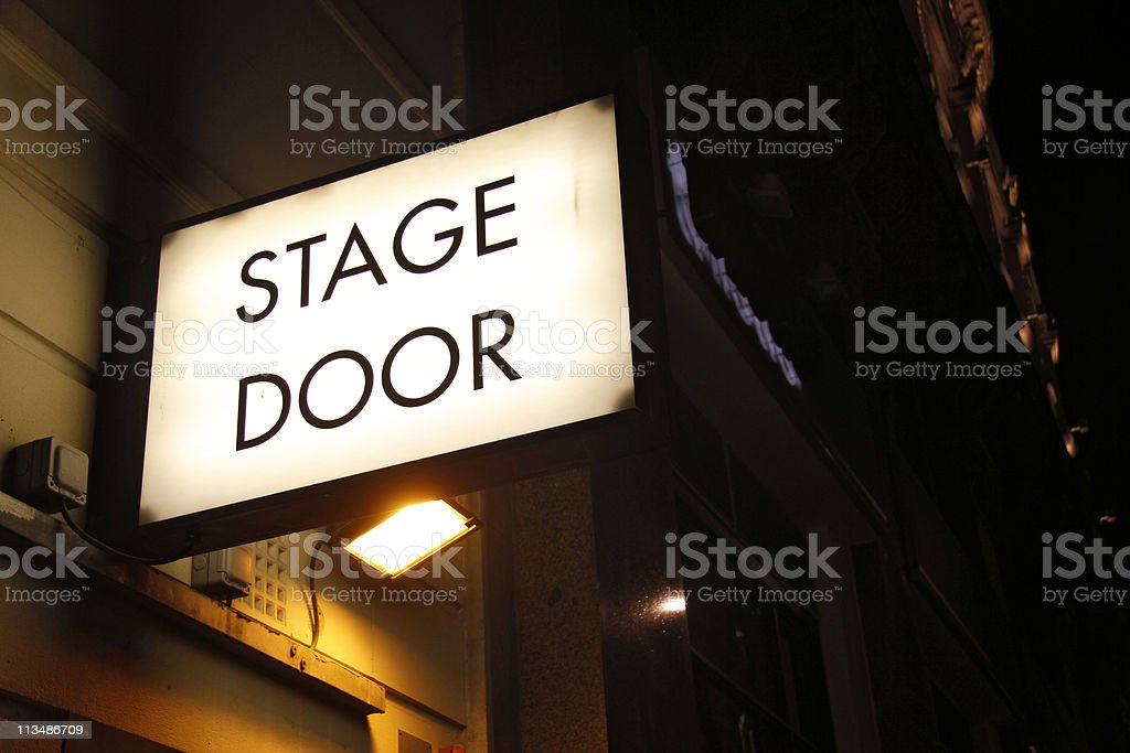 Close up of a theatre sign over a stage door at night royalty-free stock photo