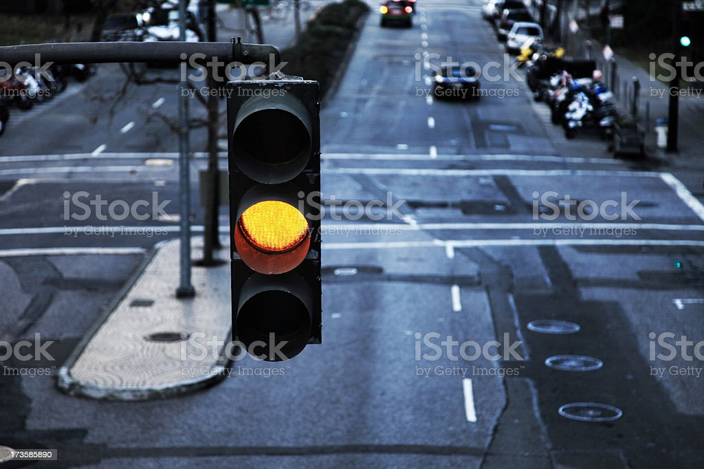 Close up of a traffic light on yellow stock photo