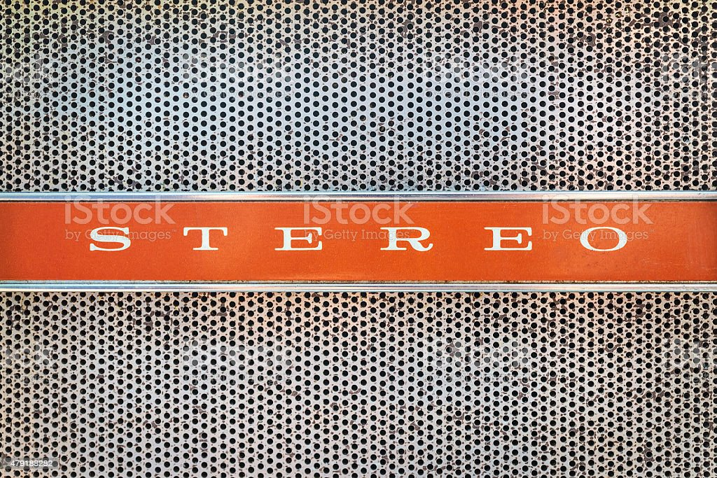 Close up of a vintage jukebox with the text stereo stock photo