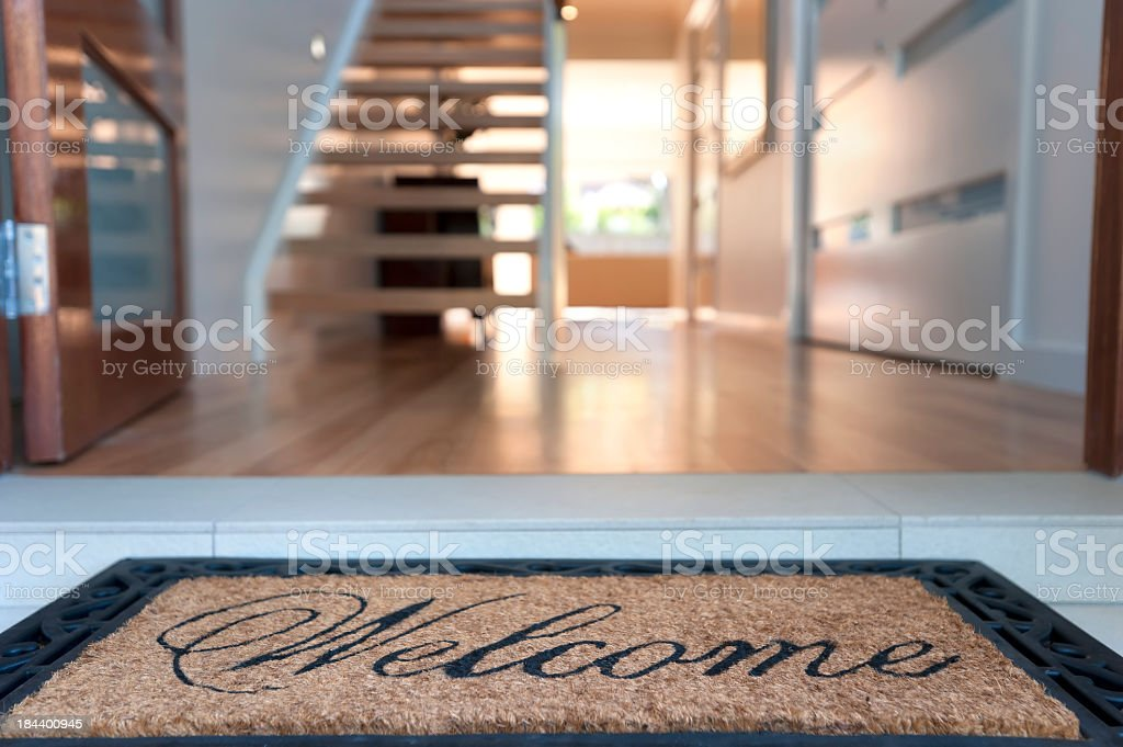 Close up of a welcome mat in an inviting house stock photo