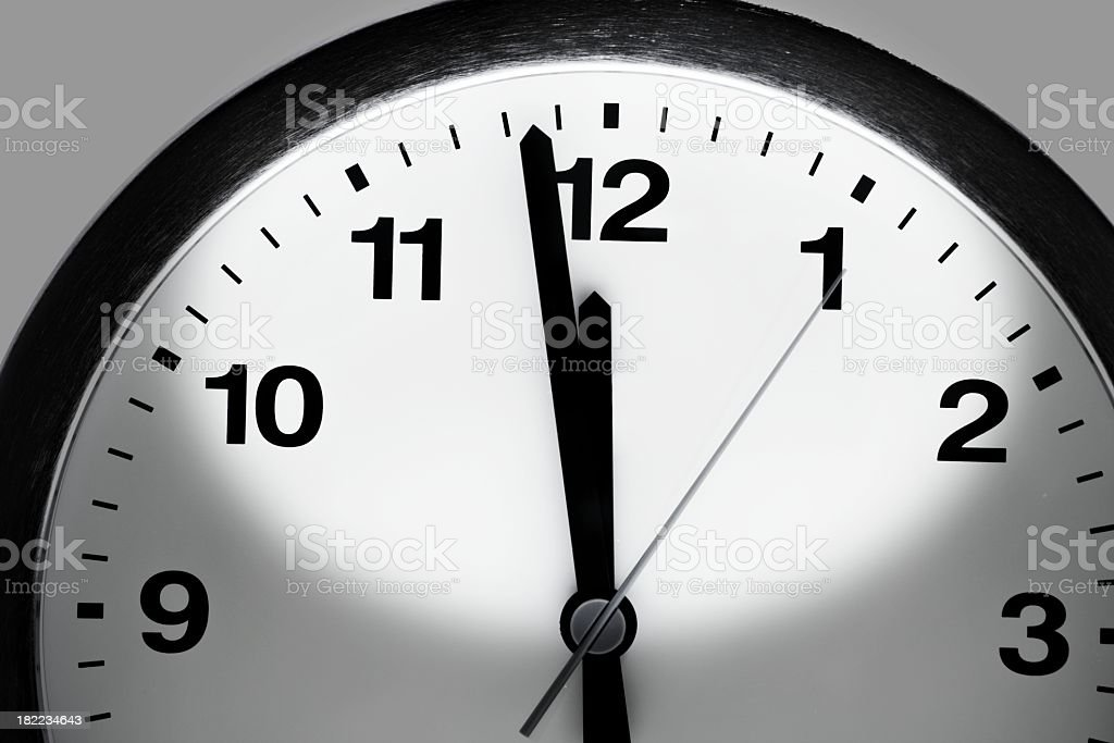 Close up of a white and black round clock with hands showing 23:58 time royalty-free stock photo