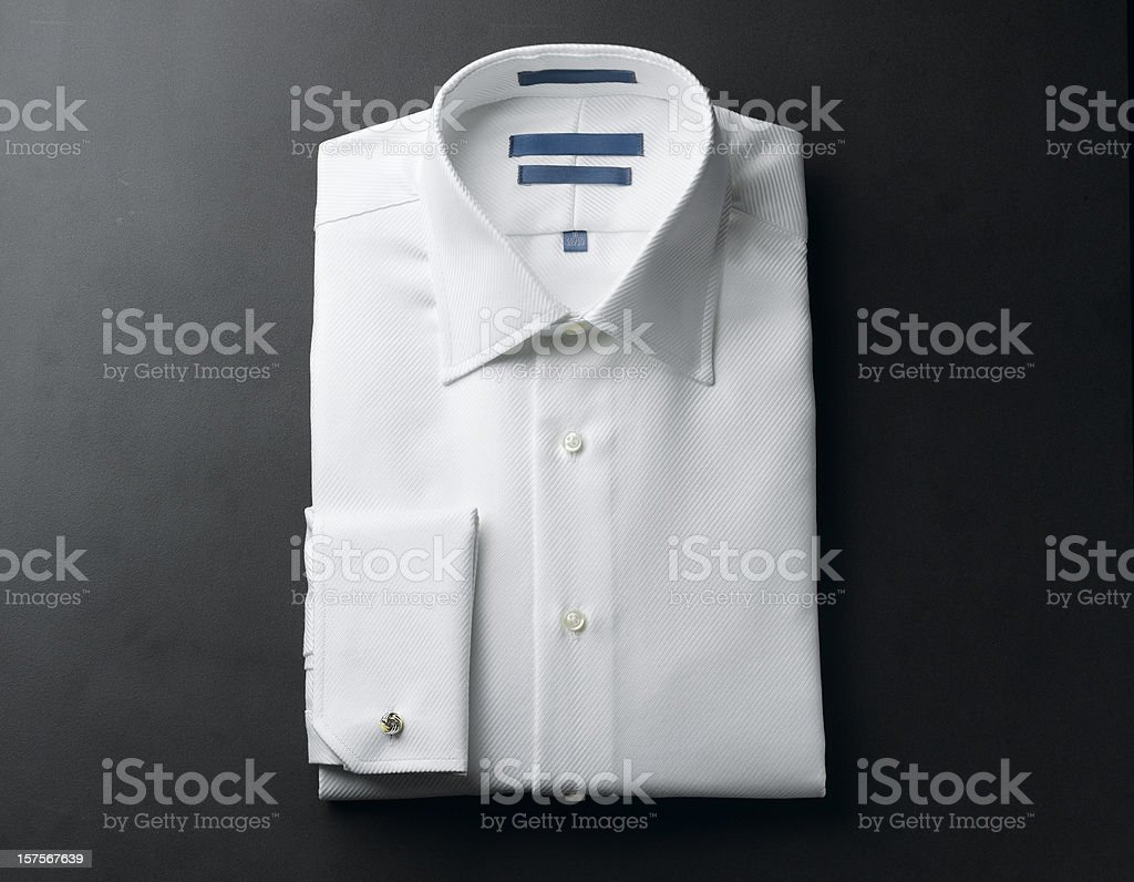 Close up of a white mens shirts royalty-free stock photo