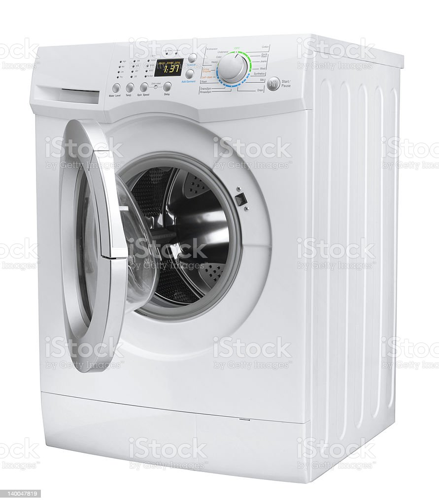 Close up of a white washing machine with the door open stock photo