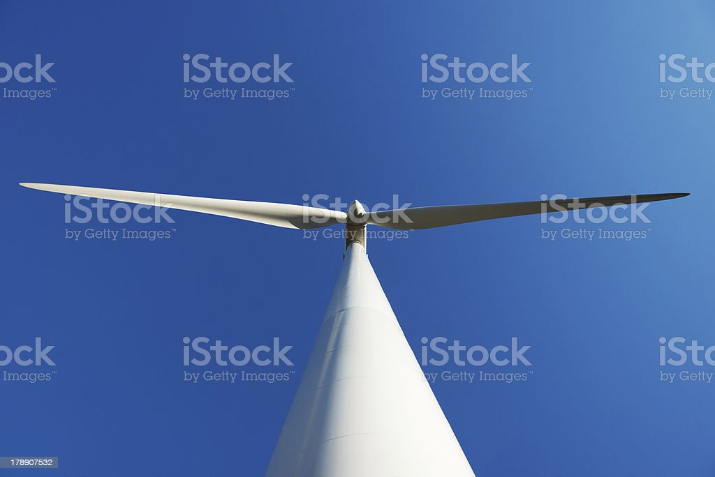 Close up of a wind turbine from below royalty-free stock photo