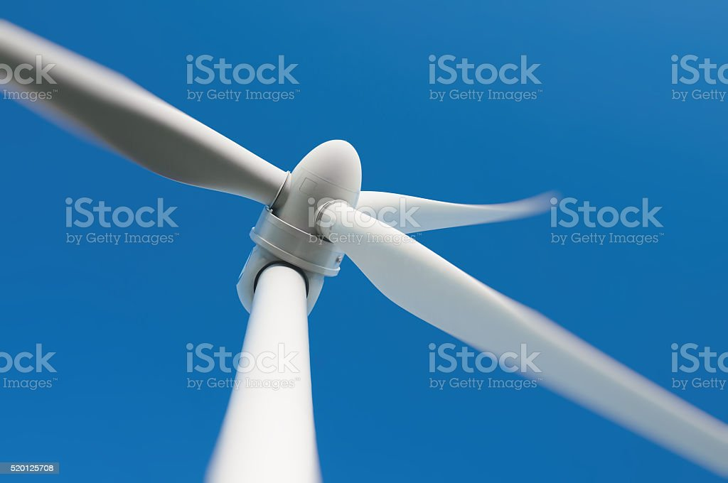 Close up of a wind turbine stock photo