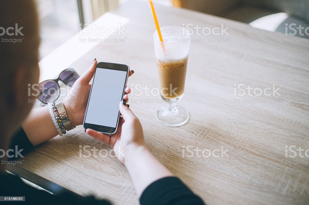 Close up of a woman surfing the web stock photo