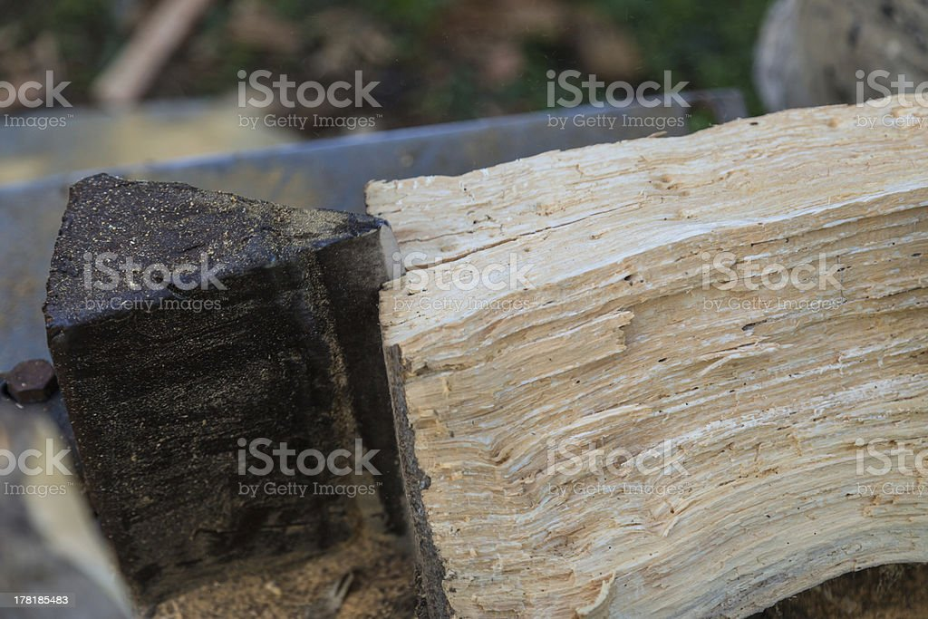 Close up of a wood splitter stock photo