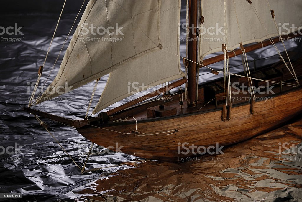 Close up of a wooden sailing boat nose royalty-free stock photo