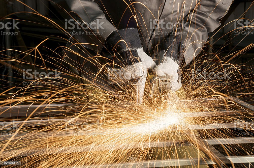 close up of a worker grinding royalty-free stock photo