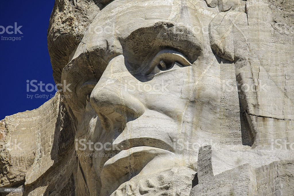 Close up of Abraham Lincoln at Mount Rushmore royalty-free stock photo