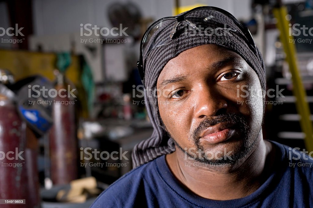 Close up of African American industrial worker stock photo