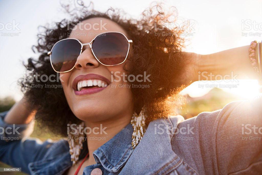 Close up of african descent woman stock photo