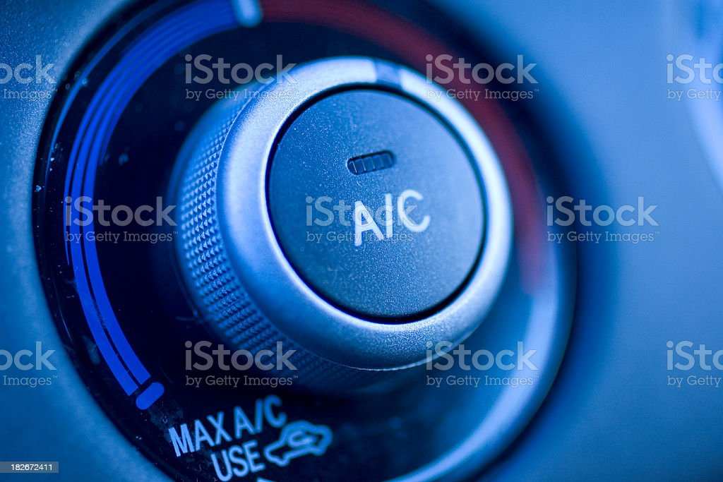 Close up of air conditioning button in a car royalty-free stock photo
