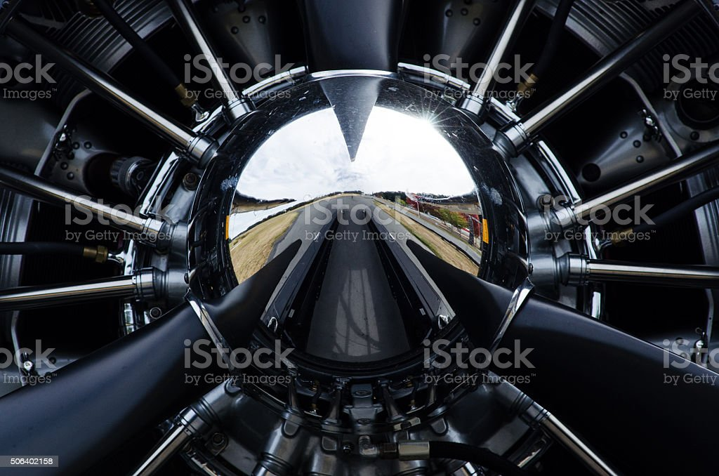 Close up of airplane propeller stock photo