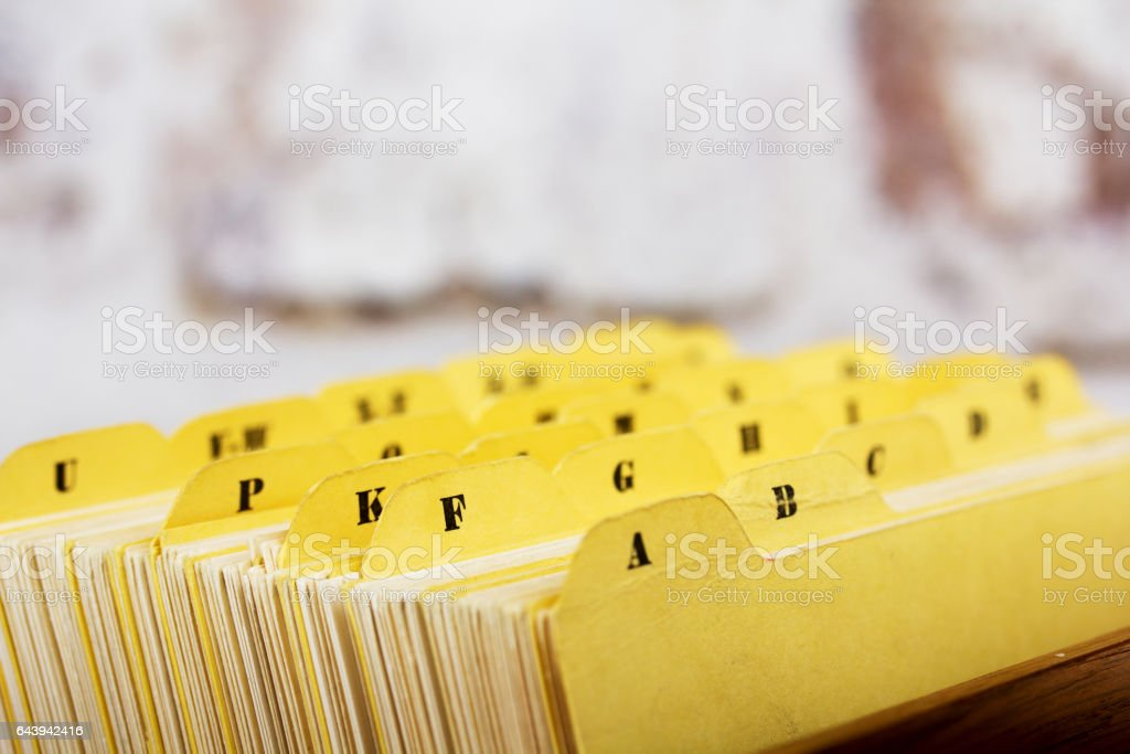 Close up of alphabetical index cards in box stock photo