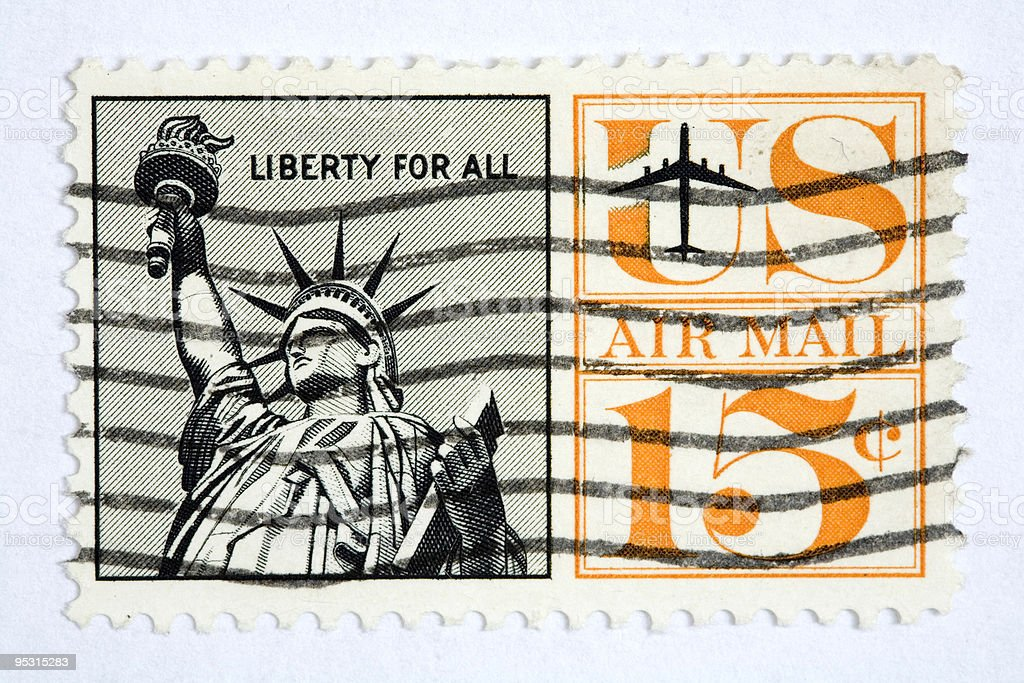 Close up of american post stamp royalty-free stock photo