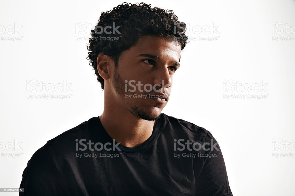 Close up of an African American model in black t stock photo