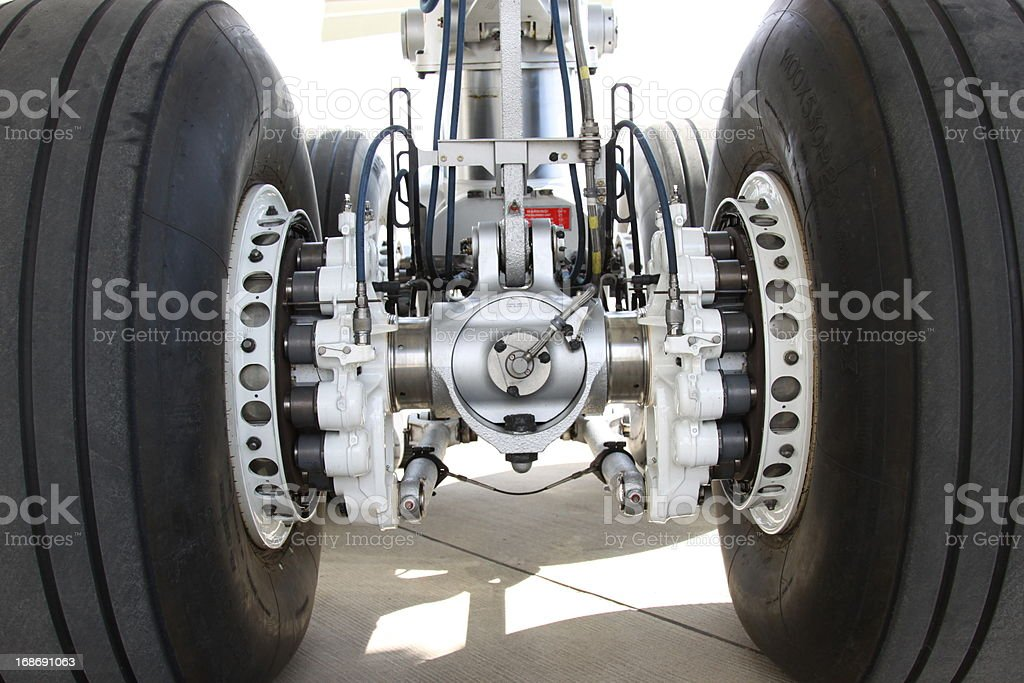 Close up of an airplane landing gear stock photo