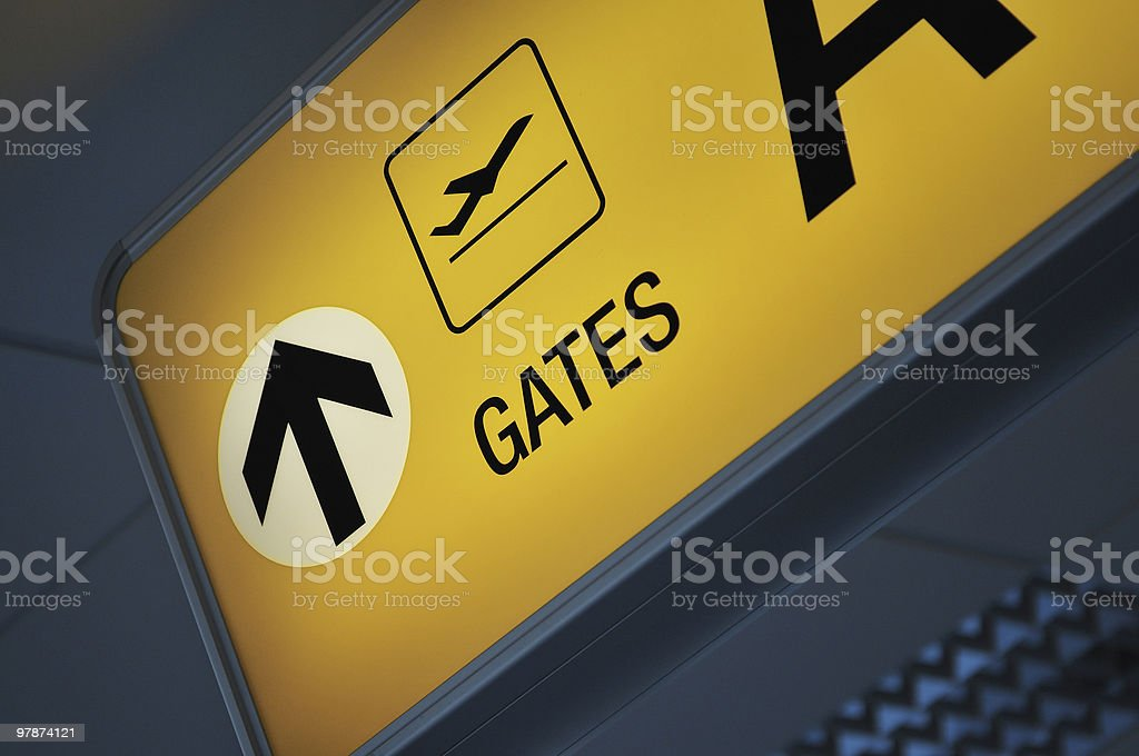 Close up of an airport gate sign royalty-free stock photo