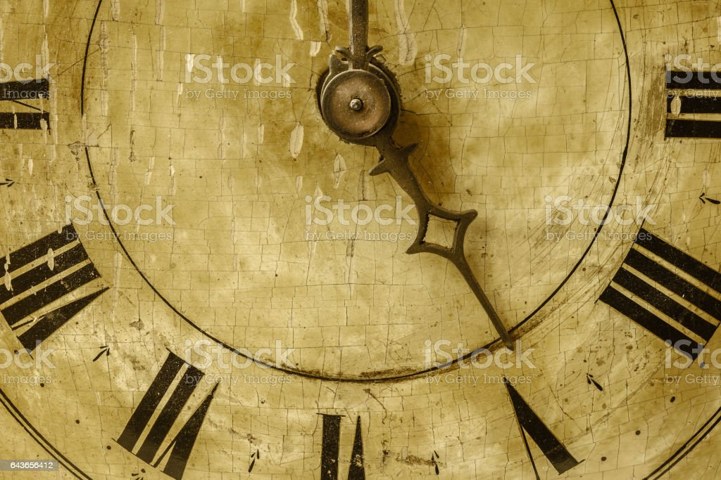 Close up of an ancient weathered clock stock photo