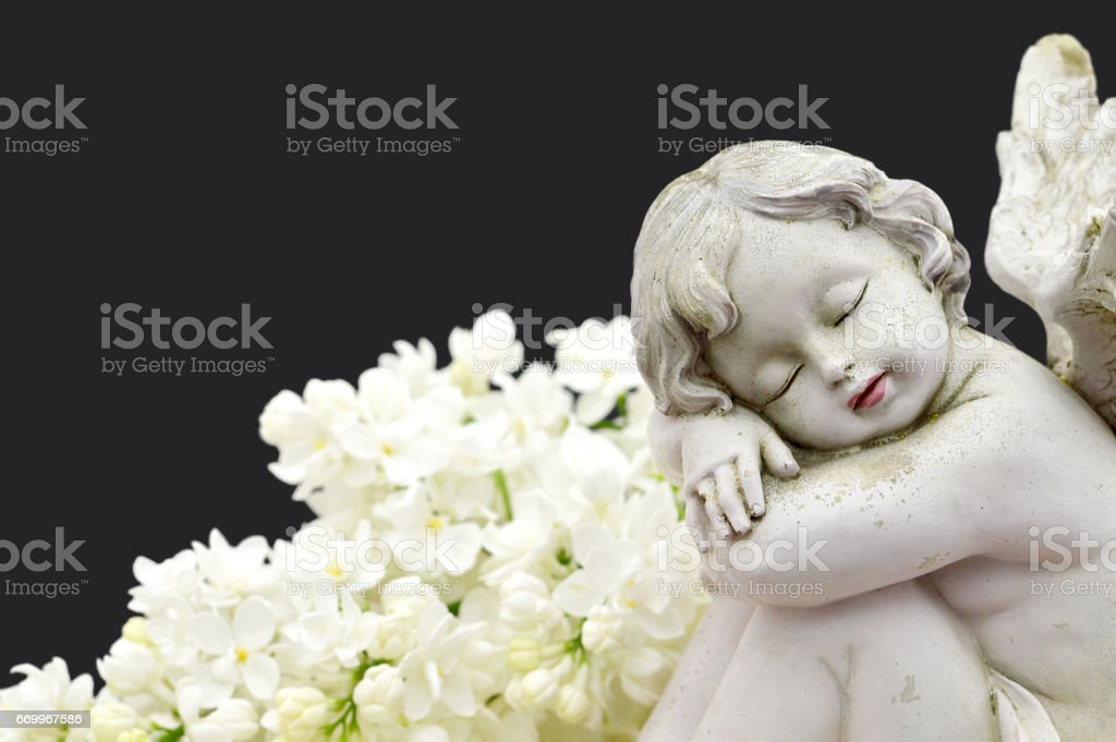 Close up of an angel and white spring flowers stock photo