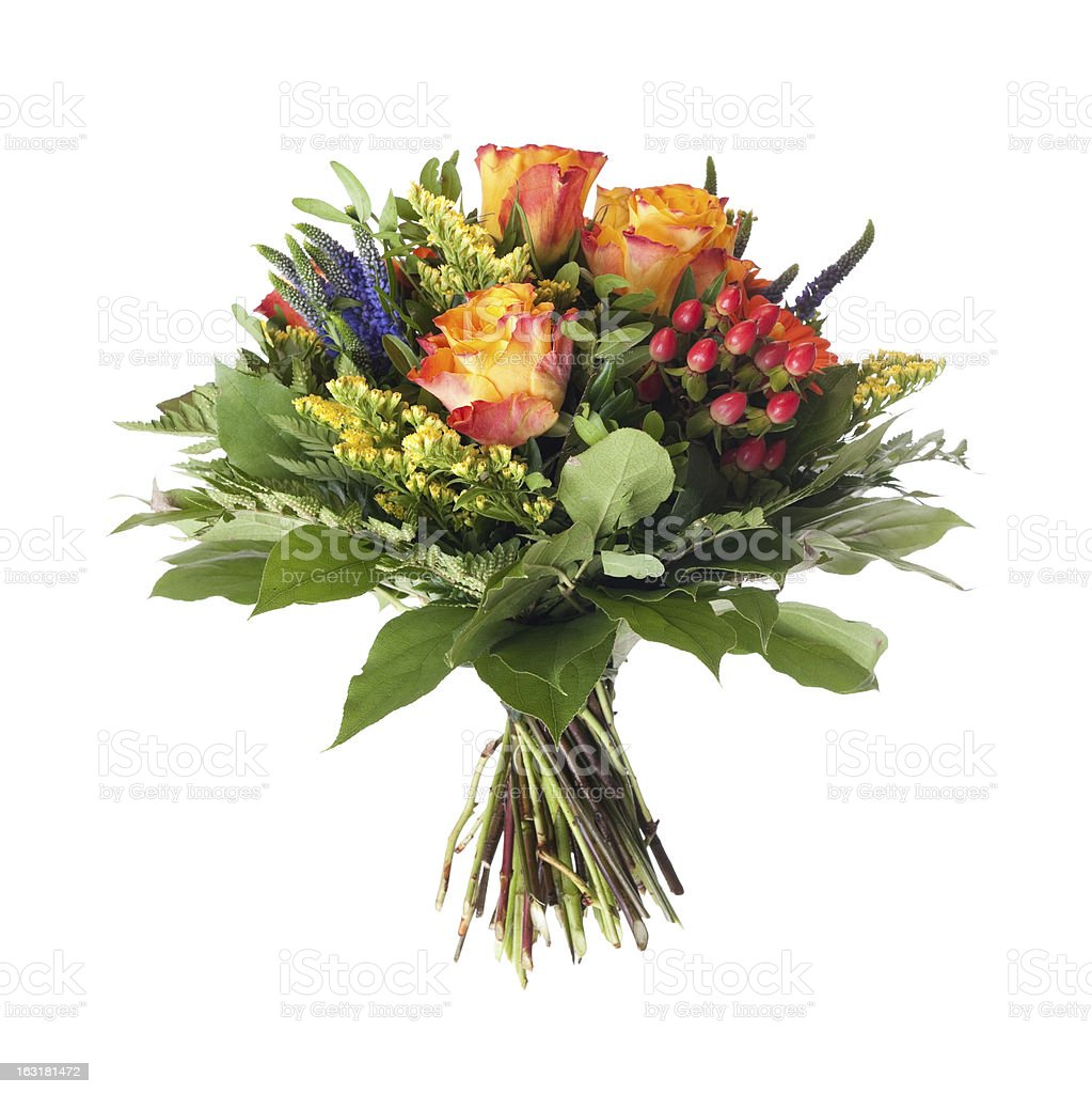 Close up of an artificial bunch of flowers stock photo