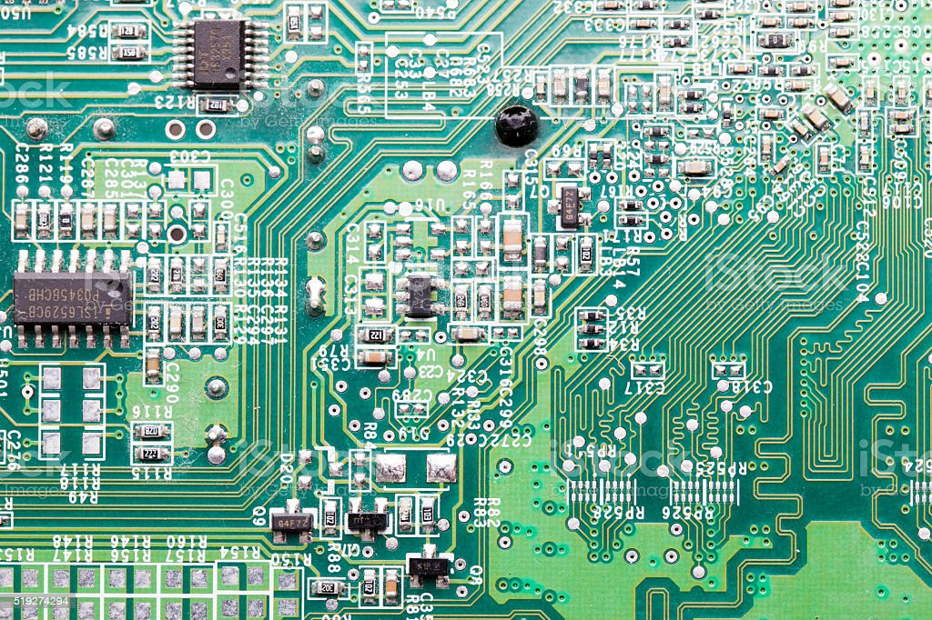 Close up of an electric circuit board stock photo