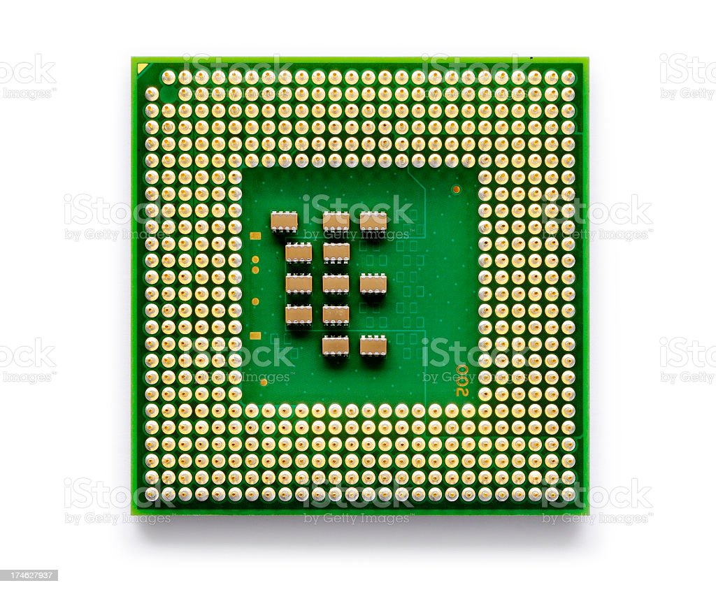 A close up of an electronic chip used for technology  stock photo
