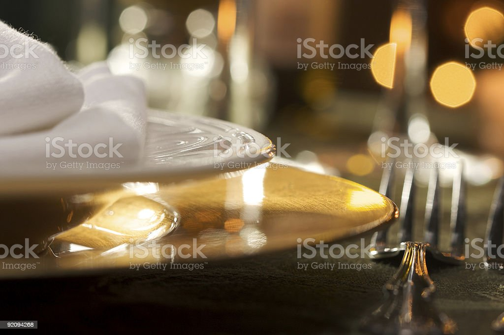 Close up of an elegant place setting with napkins royalty-free stock photo