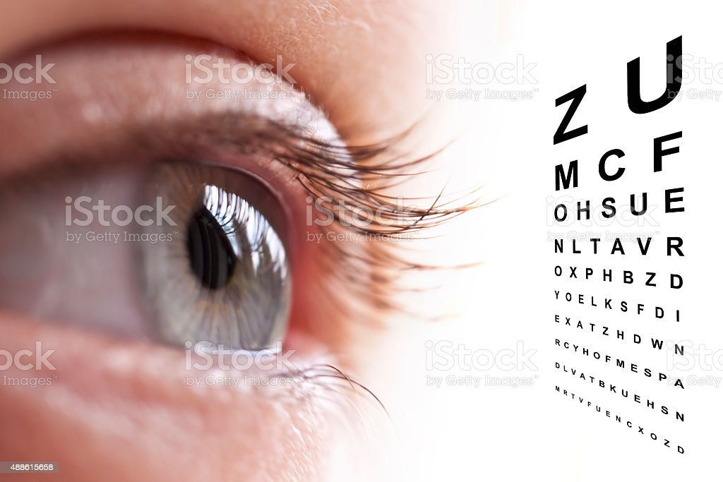 Close up of an eye and vision test chart stock photo