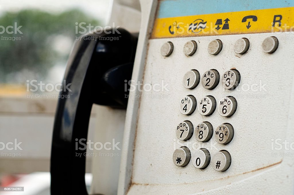 Close up of an old public phone booth in Madagascar stock photo