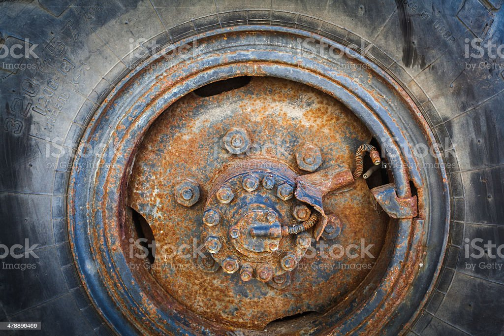 close up  of an old, rusty wheel stock photo
