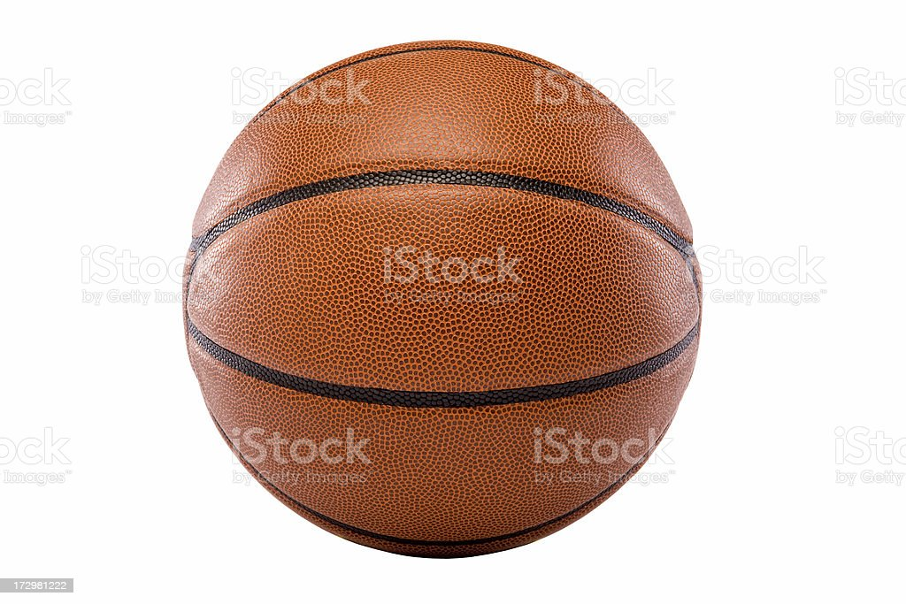 Close up of an orange basketball with black stripes stock photo