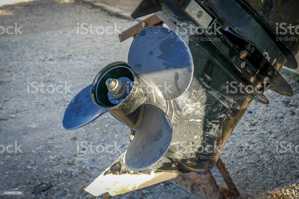 Close up of an outboard engine propeller. stock photo
