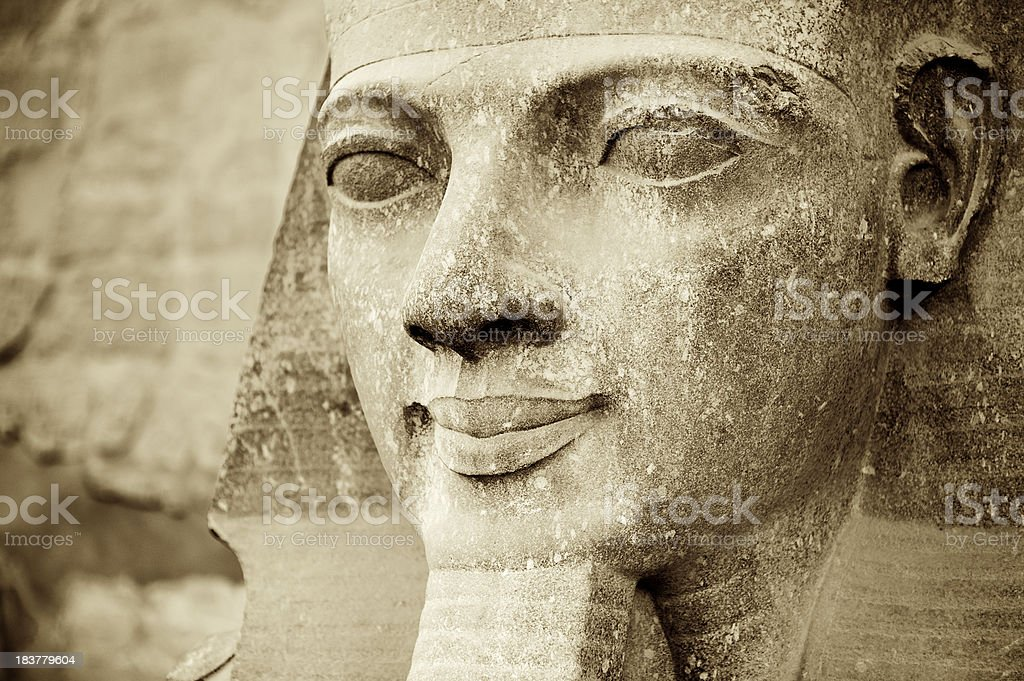 Close Up of Ancient Egyptian Head Luxor Temple stock photo