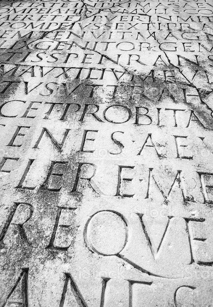 Close Up of Ancient Roman Latin Script royalty-free stock photo