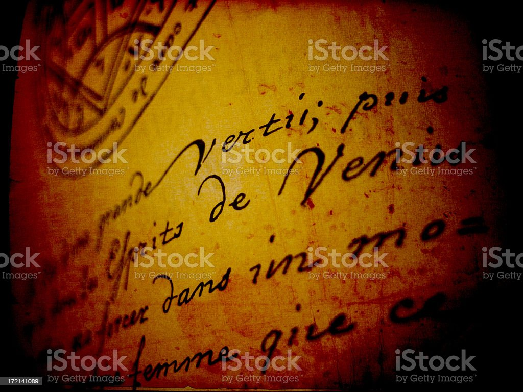 Close up of ancient script stock photo