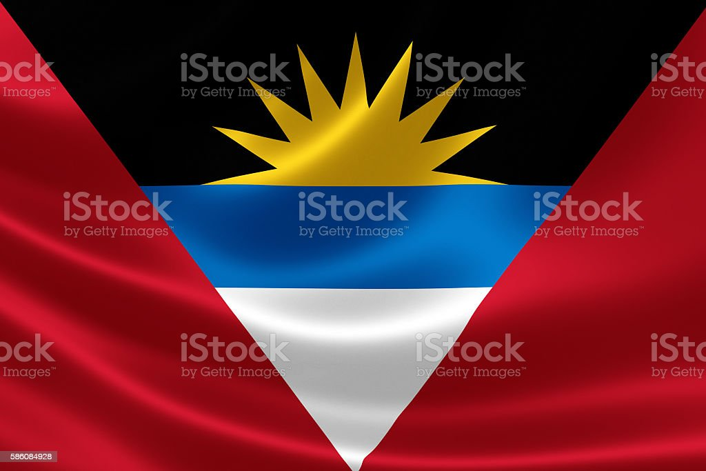 Close Up of Antigua and Barbuda's Flag stock photo