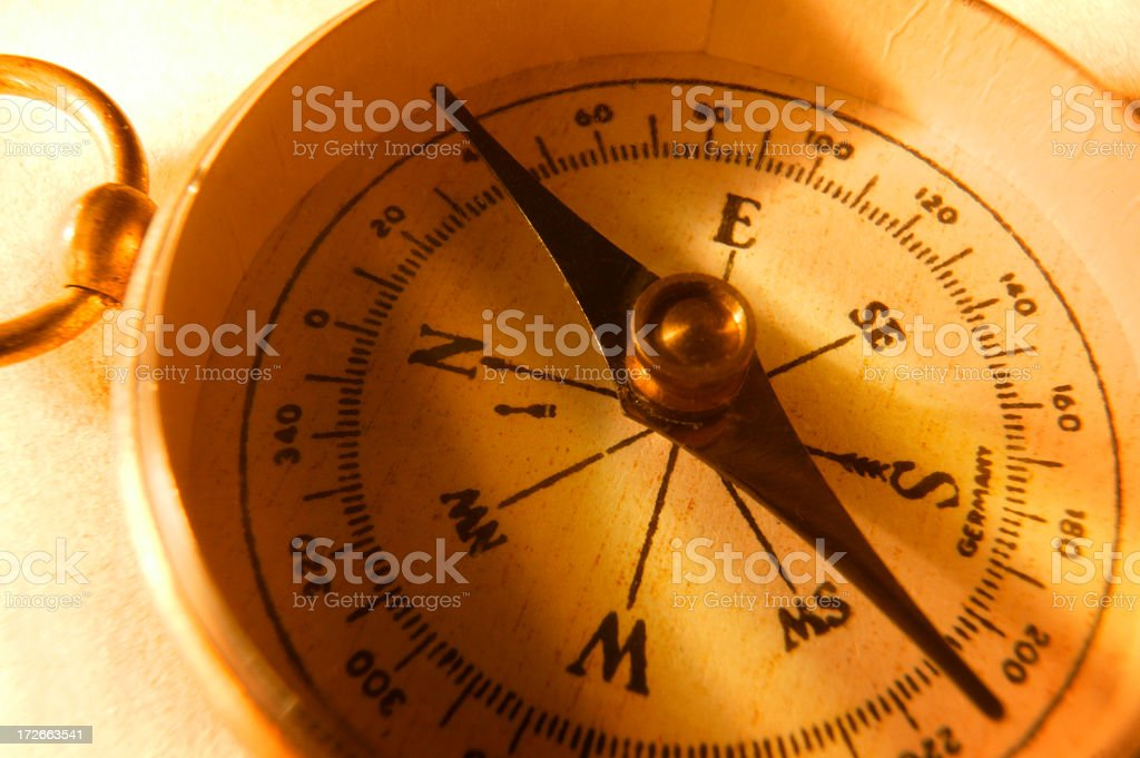 Close Up Of Antique Compass On Warmly Lit Background royalty-free stock photo