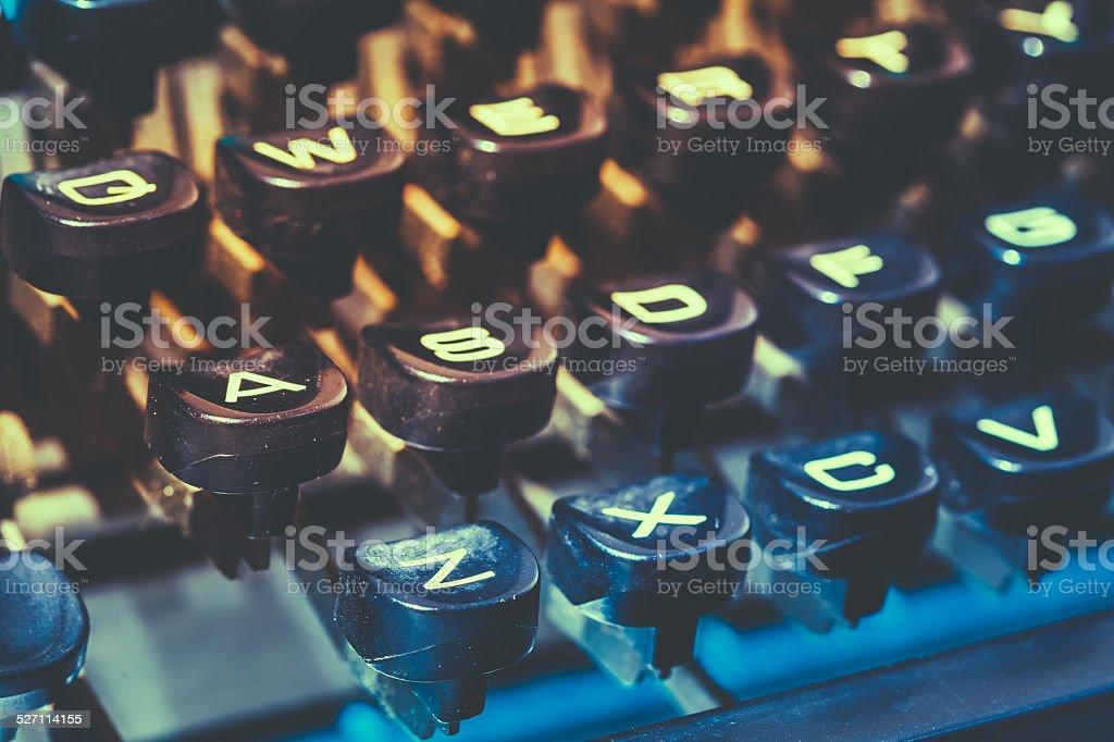 Close Up Of Antique Typewriter Keys. Old Manual Retro Keys stock photo