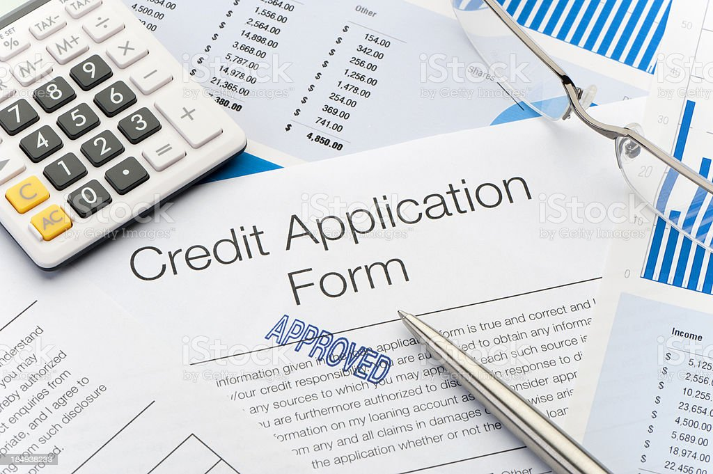 Close up of approved Credit Application Form stock photo